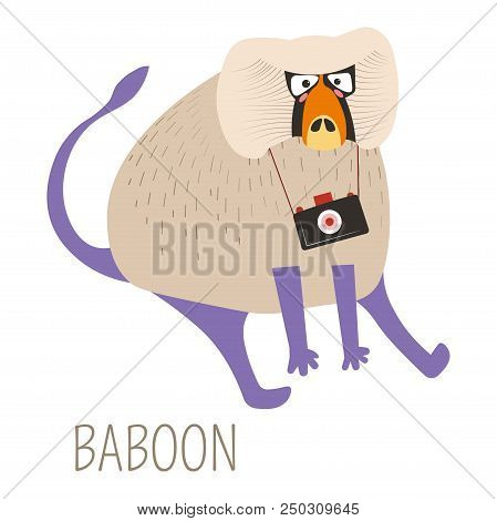 Baboon Monkey With Camera Childish Book Character. Ridiculous Furry Jungle Animal With Device To Mak