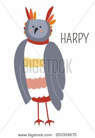 Harpy Fairy Bird Childish Cartoon Book Character. Wild Animal With Wings And Feathers In Head Stands