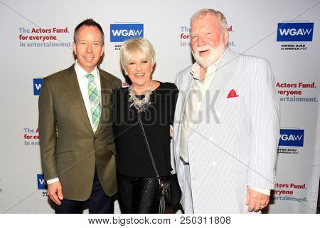 LOS ANGELES - JUN 11: David Rambo, Lorna Luft, Ted Heyck at The Actors Fund's 22nd Annual Tony Awards Viewing Party at the Skirball Cultural Center on June 10, 2018 in Los Angeles, CA