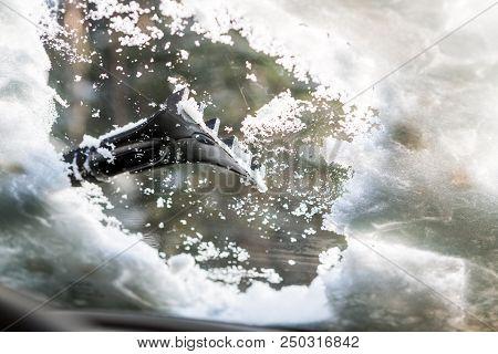 Car Window In Snow.