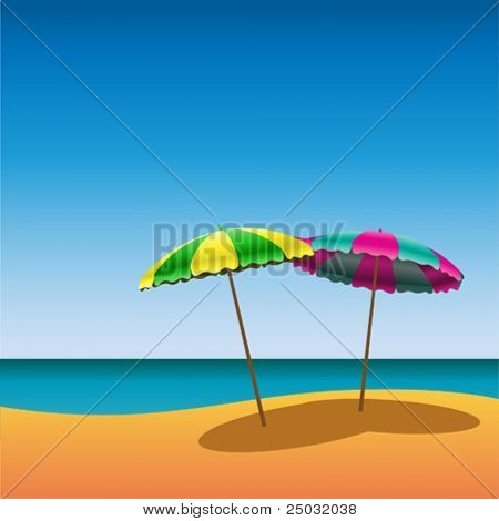 Two Parasols on Beach with Shade