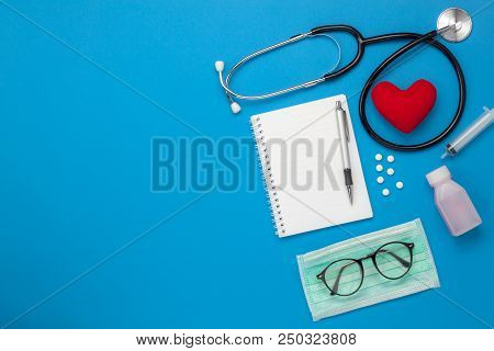 Flat Lay Aerial Of Tools Medical & Healthcare Insurance Background Concept.space For Design.table To