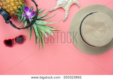 Table Top View Aerial Image Of Food For Summer Holiday Season & Music Background Concept.flat Lay Pi