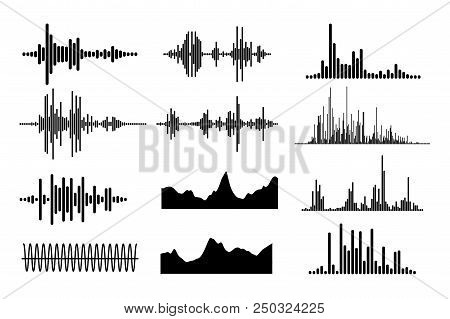 Sound Wave Icon Set. Equalize Audio And Stereo, Melody