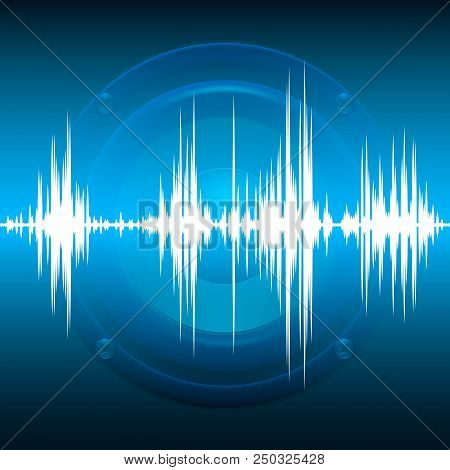 Music Abstract Background Blue. Equalizer For Music, Showing Sound Waves With Music Waves