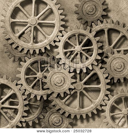 A Mechanical Background with Gears and Cogs