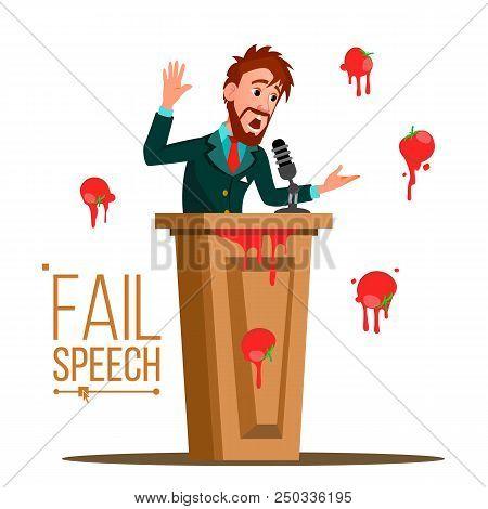 Businessman Fail Speech Vector. Unsuccessful Presentation. Bad Public Speech. Speaker Standing Behin