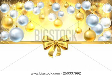 Gold Christmas Baubles And Ribbon Bow Decoration Abstract Background. White At The Bottom For Easy U