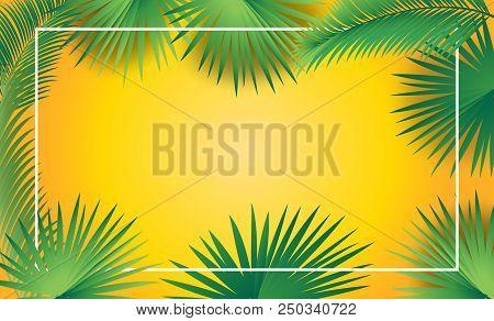 Palm Tree Leaves Frame Sukkot And Rosh Hashana Festival Jewish Holiday Decoration, Tropical Palm Lea
