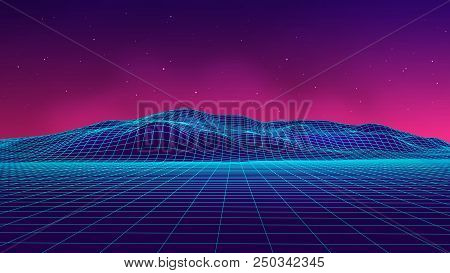 Abstract Futuristic Landscape 1980S Style. Vector Illustration 80S Party Background . 80S Retro Sci-