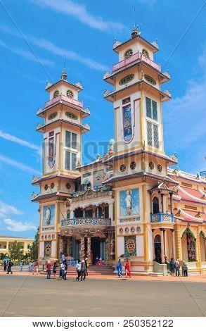 Tay Ninh, Vietnam - March 8, 2013 : Cao Dai Temple Of Tay Ninh, Caodai Is A Vietnamese Religion Mixi