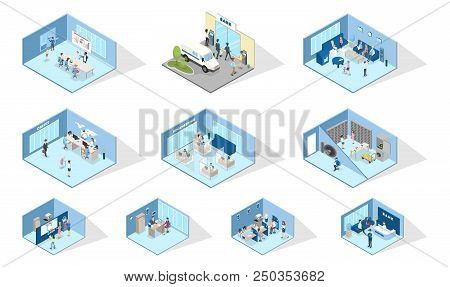 Bank Interior. Set Of Isometric Bank Offices. People Making Financial Operations With Money. Entranc