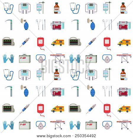 Ambulance Icons Vector Seamless Pattern Background. Medicine Health Emergency Hospital Symbol. Urgen