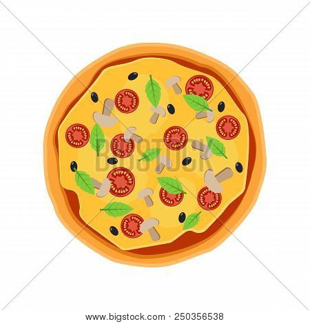 Pizza Flat Icons Isolated On White Background. Pizza Food Silhouette. Pizza Menu Illustration Isolat