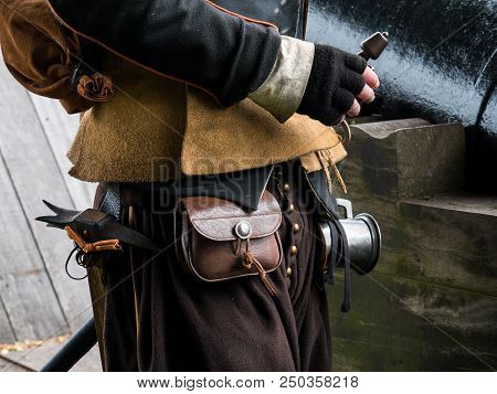 Historic Attire Of A Gunner Used During A Re-enactment In The Historic Fortified Town Of Bourtange,