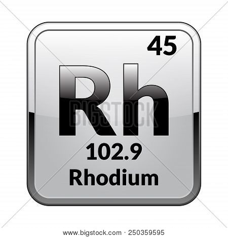 Rhodium Symbol.chemical Element Of The Periodic Table On A Glossy White Background In A Silver Frame
