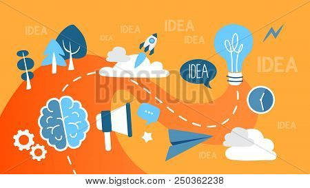 Idea Concept Illustration. Idea Of Creative Thinking And Brainstorming. Business Innovations. Blue L