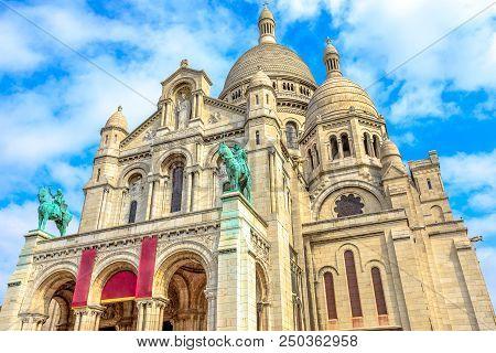 Bottom View Of Facade Of Sacred Heart Of Paris Church In France. Basilique Du Sacre-coeur De Montmar