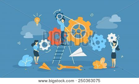 Teamwork Concept. Businessmen Working Together And Moving Towards Success. People With Giant Gears.