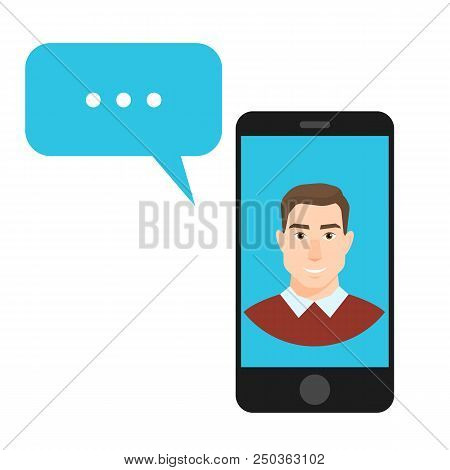 Vector Illustration Concept Of Online Chat Man App Icons In Flat Style