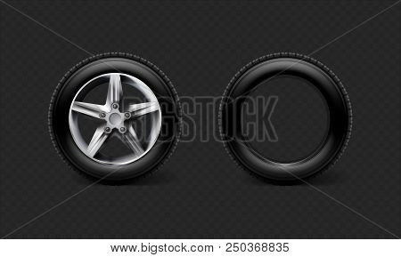 Stock Vector Illustration Realistic Car Wheels Set Tyre Bus, Truck Isolated On Transparent Black Che