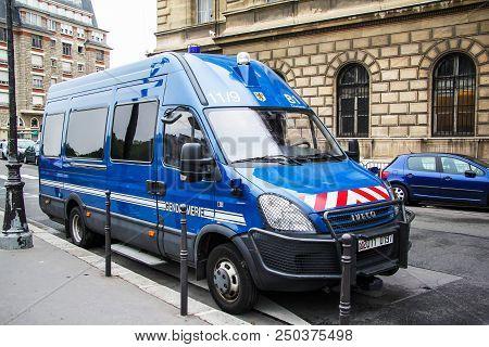 Paris, France - August 8, 2014: Gendarmerie Van Iveco Daily In The City Street.