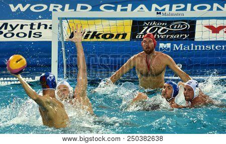 Budapest, Hungary - Jul 25, 2017. Hungarian Waterpolo Team (nagy Viktor Goalkeeper, Torok Bela) Defe