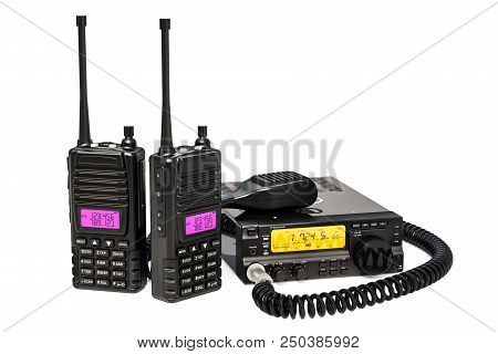 Amateur Radio Transceiver With Push-to-talk Microphone Switch And Portable Radios Walkie-talkie, 3d