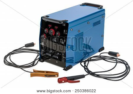 Welding machine with stick electrode holder, work cable and clamp, 3D rendering isolated on white background poster