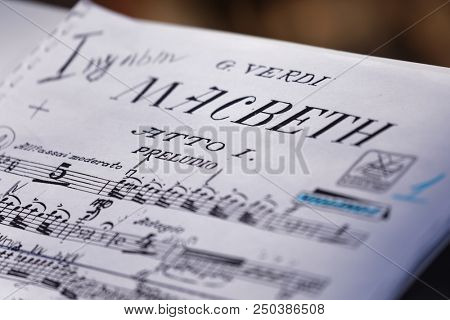 ST. PETERSBURG, RUSSIA - JULY 15, 2018: Sheet music of the opera Macbeth of G. Verdi on the music stand during the festival All Together Opera. It was 2nd of 4 performances