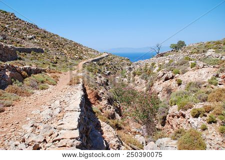 The footpath from Livadia to Gera on the Greek island of Tilos.