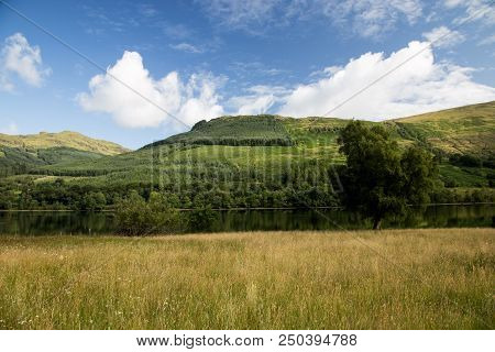 Hillside And Loch In The Scottish Highlands In Summer