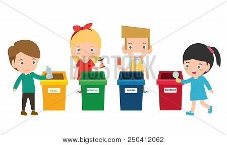 Children Collect Rubbish For Recycling, Illustration Of Kids Segregating Trash, Recycling Trash, Sav