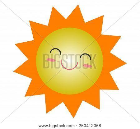 Cute Cartoon Sun Summer Icon Design, Smiling Sun Yellow Symbol, Sun Weather Icon, Sun Logo Sign Symb