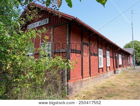 Old Railway Station Klatovy. Translation On The Tittle On The Building