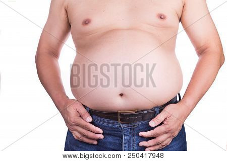 Man With Unhealthy Big Belly With Visceral Or Subcutaneous Fats