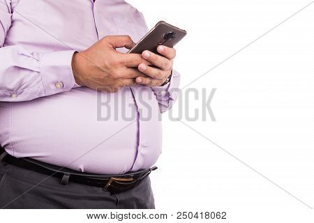 Big Belly Man With Visceral Subcutaneous Fats In Tight And Uncomfortable Shirt
