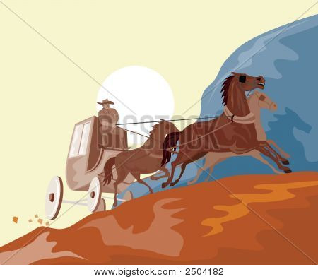 poster of Vector art of a Stagecoach traveling in the mountains