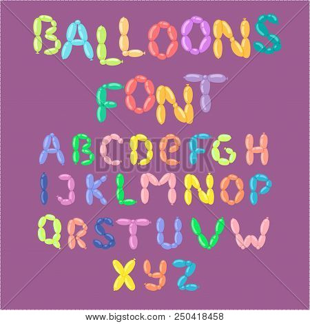 English balloon colorful alphabet vector holidays party abc and education ozone type greeting helium cartoon festive decoration illustration. Alphabetical fluffy letter typeset. poster