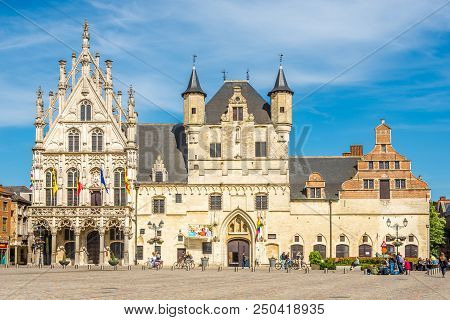 Mechelen,belgium - May 17,2018 - View From The Grote Markt Place At The City Hall In Mechelen. Meche