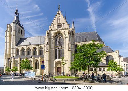 Mechelen,belgium - May 17,2018 - View At The Church Of Our Lady In Mechelen. Mechelen Is One Of Flan