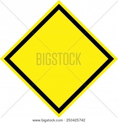 Generic Yellow Hazard Sign On White Background