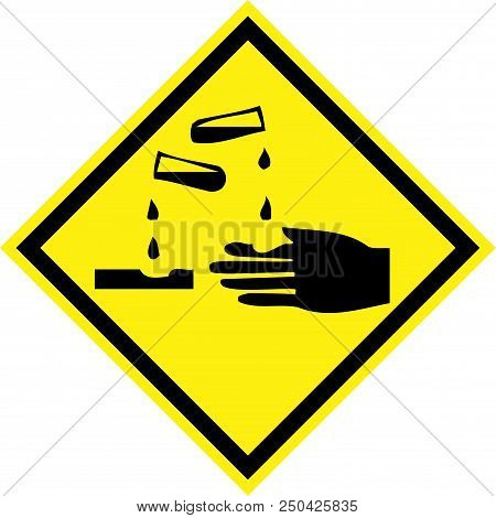 Yellow Hazard Sign With Corrosive Substances Symbol