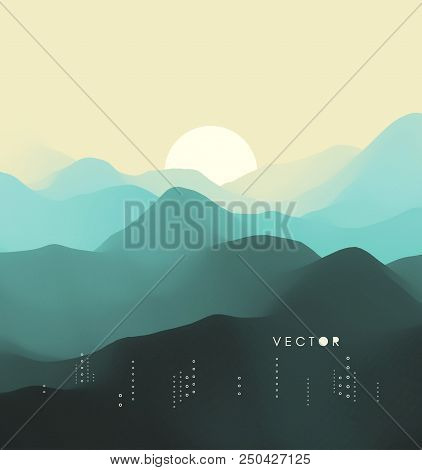 Landscape With Mountains And Sun. Sunset. Mountainous Terrain. Abstract Background. Vector Illustrat