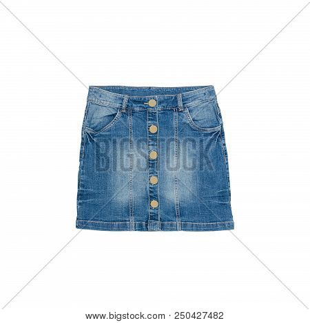 Blue Denim Skirt On A White Background. Isolate. Fashion Concept