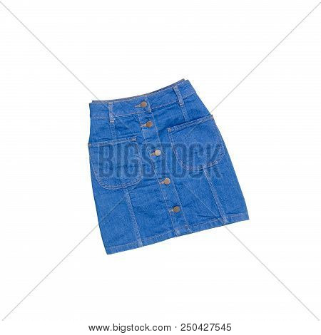 Fashion Concept. Blue Denim Skirt On A White Background. Isolate