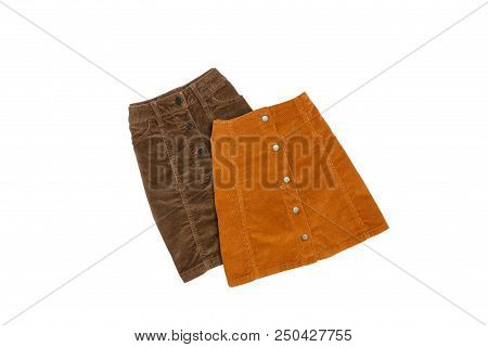 Brown Skirt With Buttons On A White Background. Isolate. Fashionable Concept
