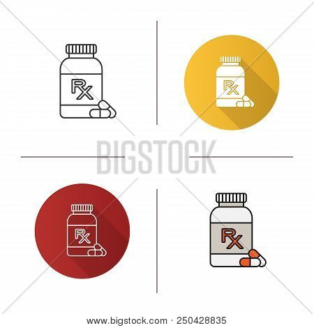 Rx Pills Bottle Icon. Medical Prescription. Medications. Flat Design, Linear And Color Styles. Isola