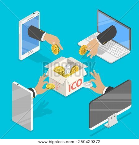 Flat Isometric Vector Concept Of Initial Coin Offering, Ico Token, Crowdfunding, Blockchain, Digital
