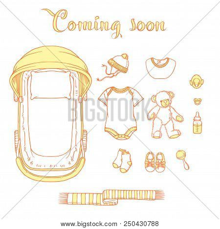 Illustration of baby items with text coming soon. Baby items for logo stroller, babygro, bib, bootee, hat. Illustrations of infant clothing and toys for a banner, a flyer or a business card. poster